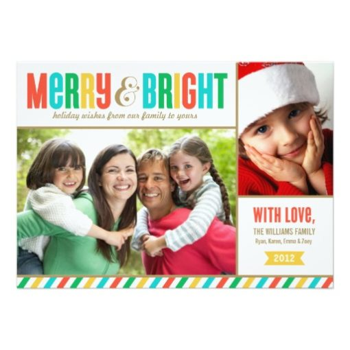 Merry And Bright Holiday Photo Card | Bold Colors Invitation Card
