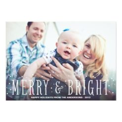 Merry & Bright Snowfall   Holiday Photo Card Invitation Card