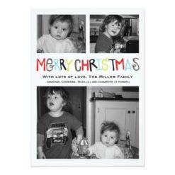 Merry Christmas 3 Photo Holiday Card Invitation Card