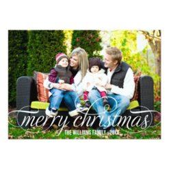 Merry Christmas Photo Card | White Script Overlay Invitation Card