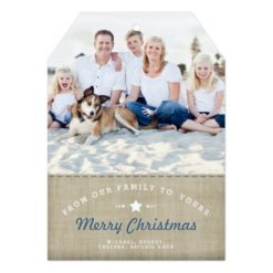 Merry Country Christmas Rustic Burlap Photo Card Invitation Card