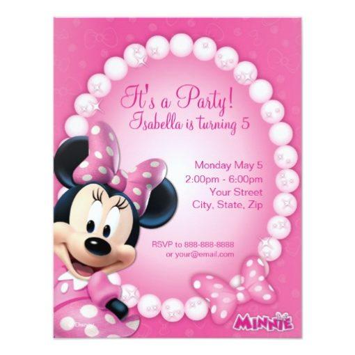 Minnie Pink And White Birthday Invitation Card