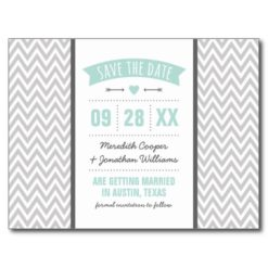 Mint And Gray Modern Chevron Save The Date Postcard