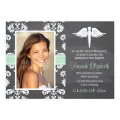 Mint Green Chalkboard Nursing School Graduation Invitation Card