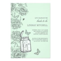 Mint Green Mason Jar Floral Bridal Shower Invitation Card