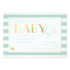 Mint & White Stripe Baby Boy Shower Gold Accents Invitation Card