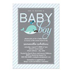 Modern Blue Baby Shower Boy Little Whale Mustache Invitation Card