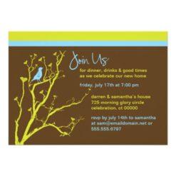 Modern Blue Bird Party Invitation Card