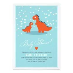 Modern Blue Orange Dinosaur Baby Shower Invitation Card