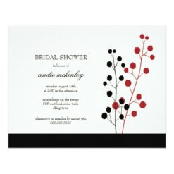 Modern Bridal Shower Invites Branches And Berries Invitation Card