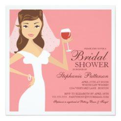 Modern Bride Wine Theme Bridal Shower Invitation Square Invitation Card