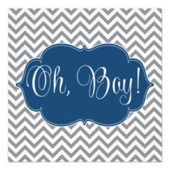 Modern Chevron Navy Blue Gray Boy Baby Shower Square Paper Invitation Card