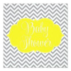 Modern Chevron Yellow Gray Baby Shower Square Paper Invitation Card