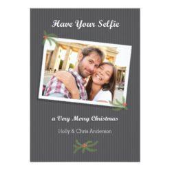 Modern Christmas Selfie Photo Card Invitation Card