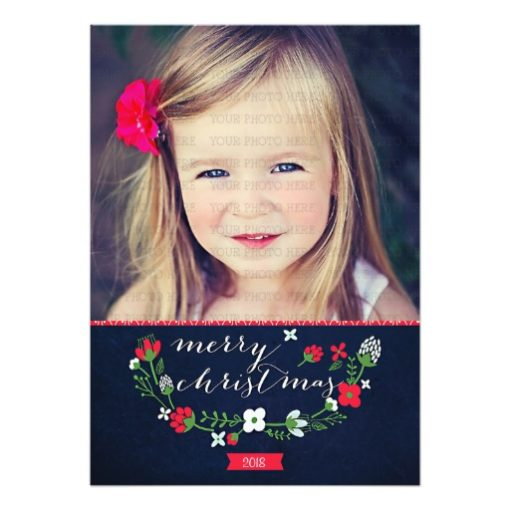 Modern Classy Chevron Merry Christmas Photo Card Invitation Card