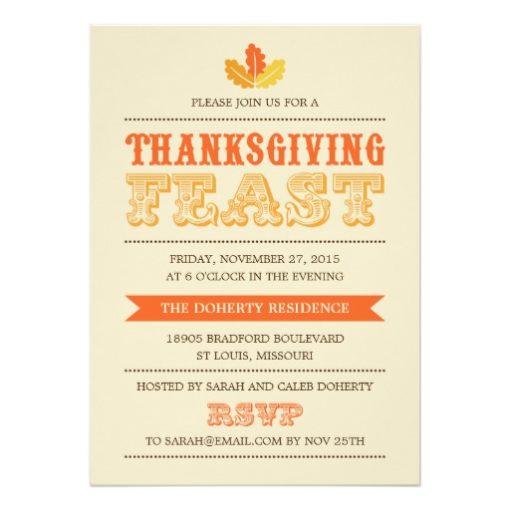 Modern Feast Thanksgiving Dinner Invitation Card