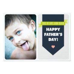 Modern Grey Chevron   Photo Father'S Day Flat Card Invitation Card