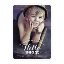 Modern Hello New Year Holiday Two Photo Card Invitation Card