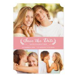 Modern Laurel Save The Date Photo Card / Pink Invitation Card