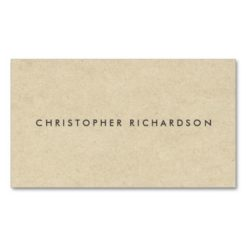 Modern & Minimal On Tan Cardboard Double-Sided Standard Business Cards (Pack Of 100)