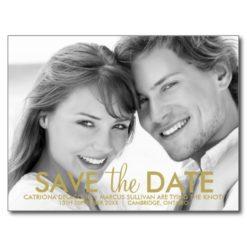 Modern Minimalist Gold Save The Date Postcard