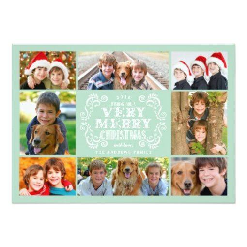 Modern Mint & Swirls Collage Holidays Photo Card Invitation Card
