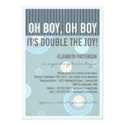 Modern Mom Twin Boy Baby Shower Invitation Card