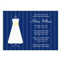 Modern Navy Blue And Yellow Gown Bridal Shower Invitation Card