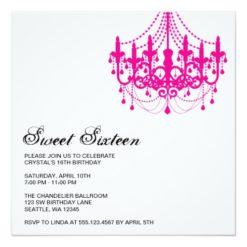 Modern Pink Chandelier Sweet Sixteen Birthday Square Paper Invitation Card