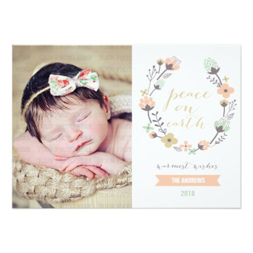 Modern Pink Mint Holiday Floral Custom Photo Card Invitation Card