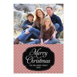 Modern Red Black Chevron Christmas Photo Card Invitation Card