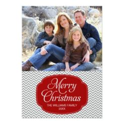 Modern Red Gray Chevron Christmas Photo Card Invitation Card