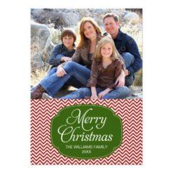 Modern Red Green Chevron Christmas Photo Card Invitation Card