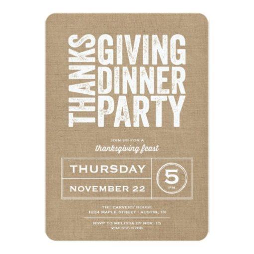 Modern Rustic Burlap Thanksgiving Dinner Party Invitation Card