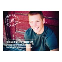Modern Stamp Photo Graduation Party Announcement Invitation Card