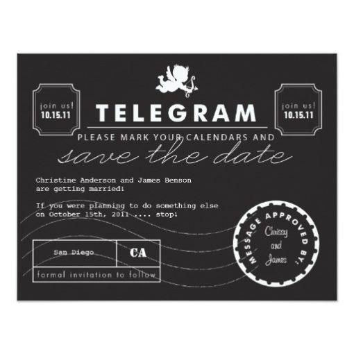 Modern Telegram Card Save The Date Invitation Card