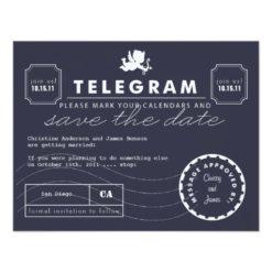 Modern Telegram Card Save The Date - Navy Invitation Card