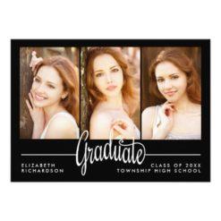Modern Three Photo Graduation Party Invitation Card