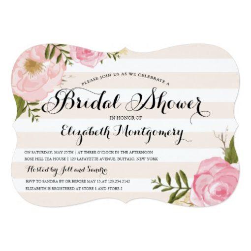 Modern Vintage Pink Floral Bridal Shower Invitation Card