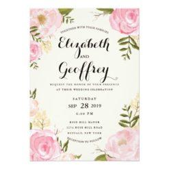 Modern Vintage Pink Floral Wedding Invitation Card