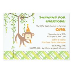 Monkey Birthday Invitation Card
