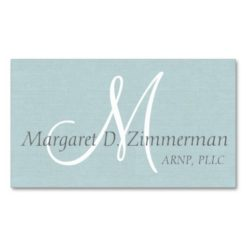 Monogrammed Professional Light Blue Linen Double-Sided Standard Business Cards (Pack Of 100)