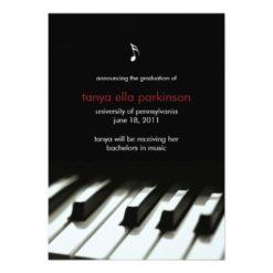 Music Major Piano Graduation Announcement Invitation Card