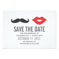 Mustache & Lips Save The Date Card Invitation Card