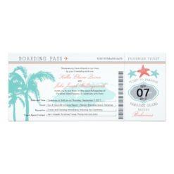 Nassau Bahamas Wedding Boarding Pass Invitation Card