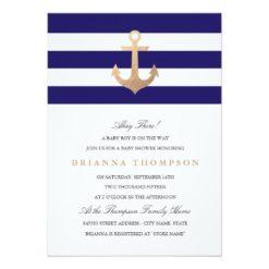 Nautical Navy Baby Shower Invitation Card