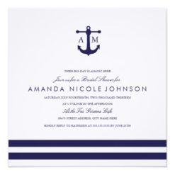 Nautical Navy Bridal Shower Invite Square Invitation Card