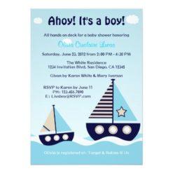 Nautical Sailboat Baby Boy Baby Shower Invitation Card