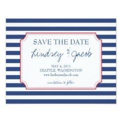 Nautical Stripes Save The Date Paper Invitation Card