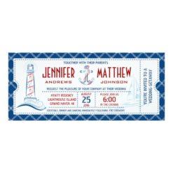 Nautical Wedding Invitation Ticket Invitation Card